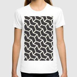 Black & White Geometric Pattern Chevron Arrow Interlock T-shirt