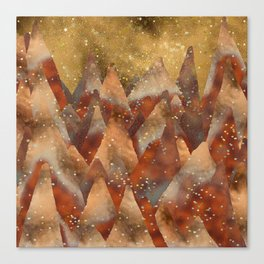 Abstract Copper  Gold Glitter Mountain Dreamscape Canvas Print