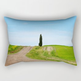 Beautiful spring minimalistic landscape with green hills in Tuscany countryside, Italy Rectangular Pillow