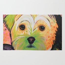 Daisy...Abstract animal pet portrait dog art, Yorkshire Terrier Rug