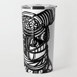 Robot 4 black and white Travel Mug