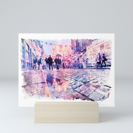 Dublin Watercolor Streetscape Mini Art Print