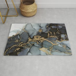 Stormy Black Gold Marble | Abstract Ink Rug