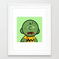 charlie brown Framed Art Prints featuring Zombie Charlie Brown by rkbr