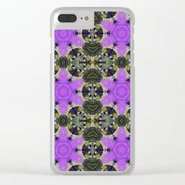 Purple Star Flowers Pattern Clear iPhone Case