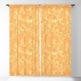 Orange Floral Pattern Blackout Curtain