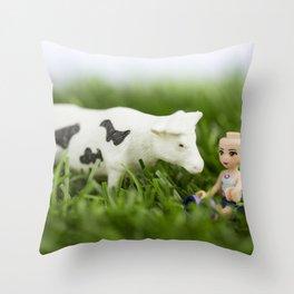 Baldy & Cow Throw Pillow