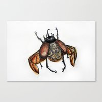 steam punk Canvas Prints featuring Steam punk beetle by Coffeeholic Art