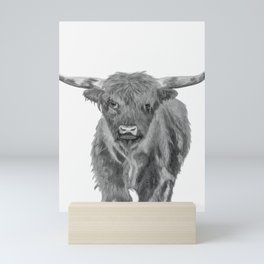 Black and White Cow Mini Art Print