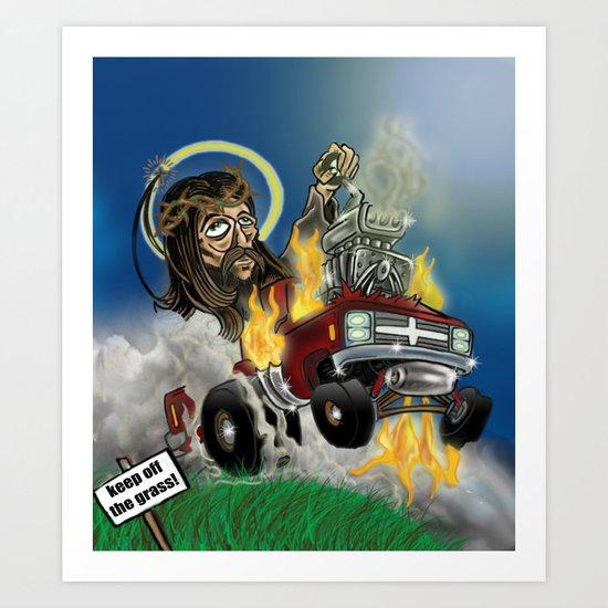 Hot-roddin' Jesus Art Print