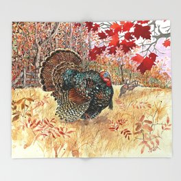 Woodland Turkey Throw Blanket