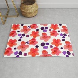 Retro Hippie 1960's Pink Magenta Trendy Floral Pattern Rug