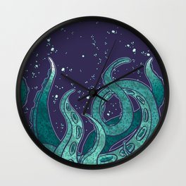 Giant Tentacle Blue Redux Wall Clock