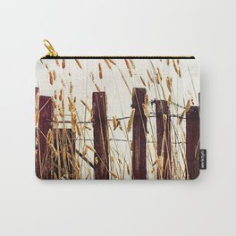 Old Slat Fence with Reeds Carry-All Pouch