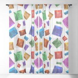 Gems on white background Sheer Curtain