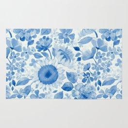 Denim Blue Monochrome Retro Floral Rug