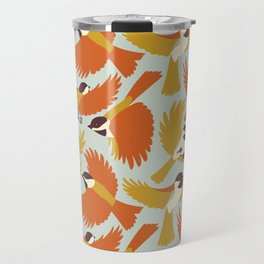 Chickadees in Orange Travel Mug