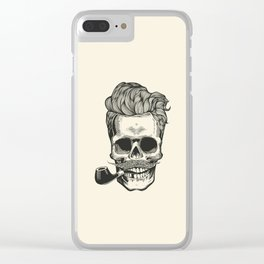 Skull silhouette with mustache, and tobacco pipes. Clear iPhone Case