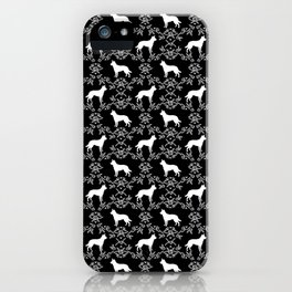 Australian Kelpie dog pattern silhouette black and white florals minimal dog breed art gifts iPhone Case
