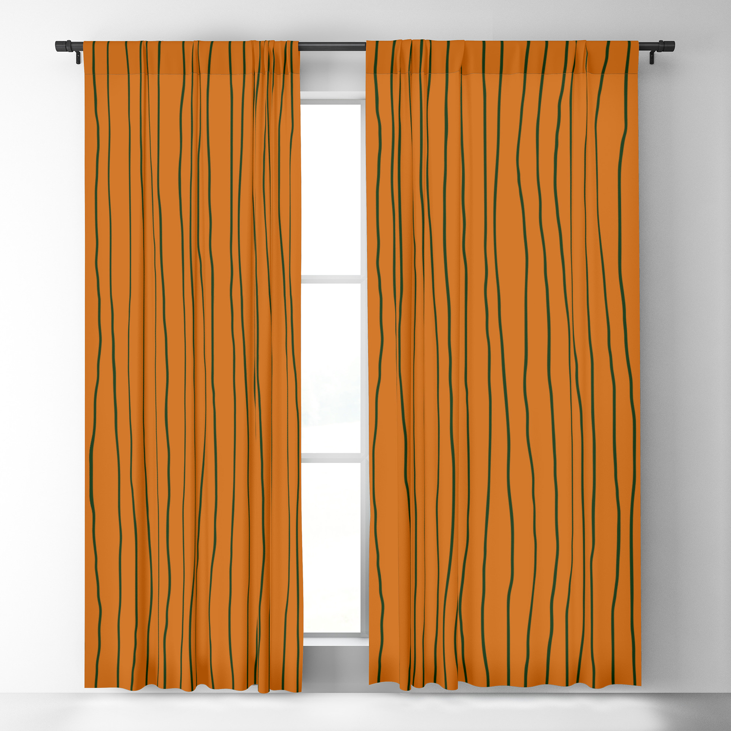 Hand Drawn Lines Vertical Combination Orange / Black Blackout Curtain by  missstriped