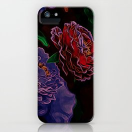 Neon Flowers in the Dark 1 iPhone Case