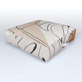 Minimal Abstract Art- Monstera Outdoor Floor Cushion