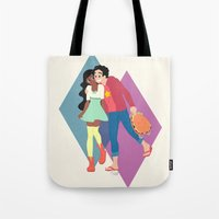 steven universe Tote Bags featuring Steven Universe - Connie and Steven by HappyQiwi