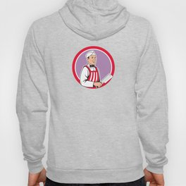 Butcher Holding Meat Cleaver Circle Cartoon Hoody