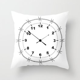 Barbed Wire Clock Throw Pillow