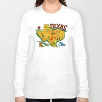 postcard Long Sleeve T-shirts featuring Postcard from Texas print by Christiane Engel