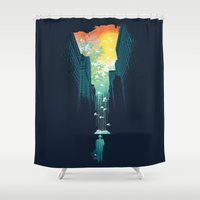 sun and moon Shower Curtains featuring I Want My Blue Sky by Picomodi