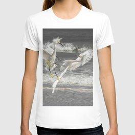 "Wall Art ""Fighting Egrets"" on the beach in Daytona Beach T-shirt"