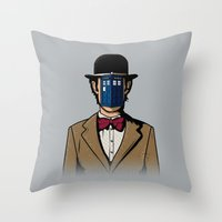 magritte Throw Pillows featuring Doctor Magritte by le.duc