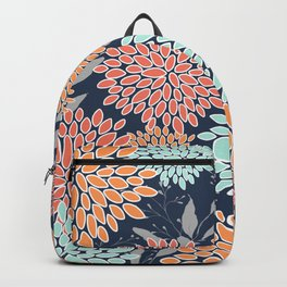 Floral Prints and Leaves, Coral, Navy Blue, Peach, Gray, Aqua Backpack