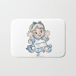 cute little baby girl in blue dress Bath Mat