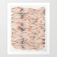 rose gold Art Prints featuring Rose Gold Waves by Cat Coquillette