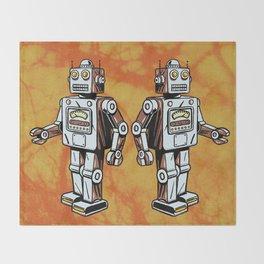 Retro Robot Toy Throw Blanket