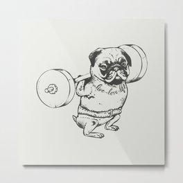 Pug Squats Metal Print