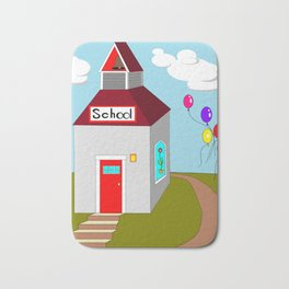 An Ole School House with Balloons Bath Mat