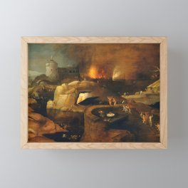 Descent Into Hell, Left Side, By Follower Of Hieronymus Bosch, Circa 1550 Framed Mini Art Print