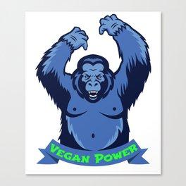 Gorilla Monkey Vegan Power Plants Vegetarian Gift Canvas Print