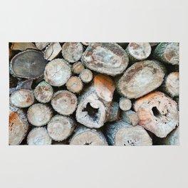 Rustic Beige Brown Logs on Woodpile Rug