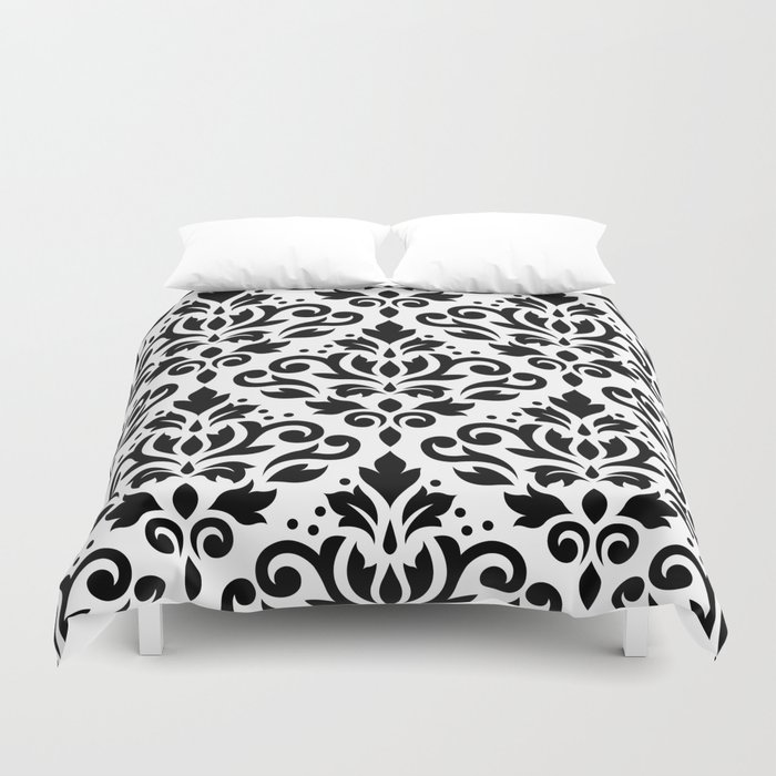 Scroll Damask Big Pattern Black on White Duvet Cover