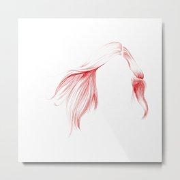 Windy Hair Metal Print