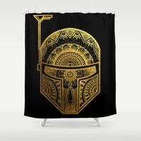 gold foil Shower Curtains featuring Mandala BobaFett - Gold Foil by Spectronium - Art by Pat McWain
