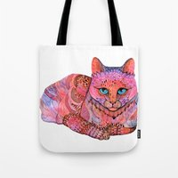 sunset Tote Bags featuring SUNSET CAT by Ola Liola
