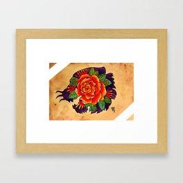 Tiger Rose Silhouette Framed Art Print