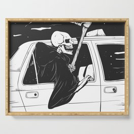 Passenger taxi grim - black and white - gothic reaper Serving Tray