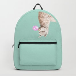 Playful Alpaca Chewing Bubble Gum in Green Backpack