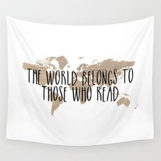 The World Belongs to those Who Read - Old Paper Wall Tapestry